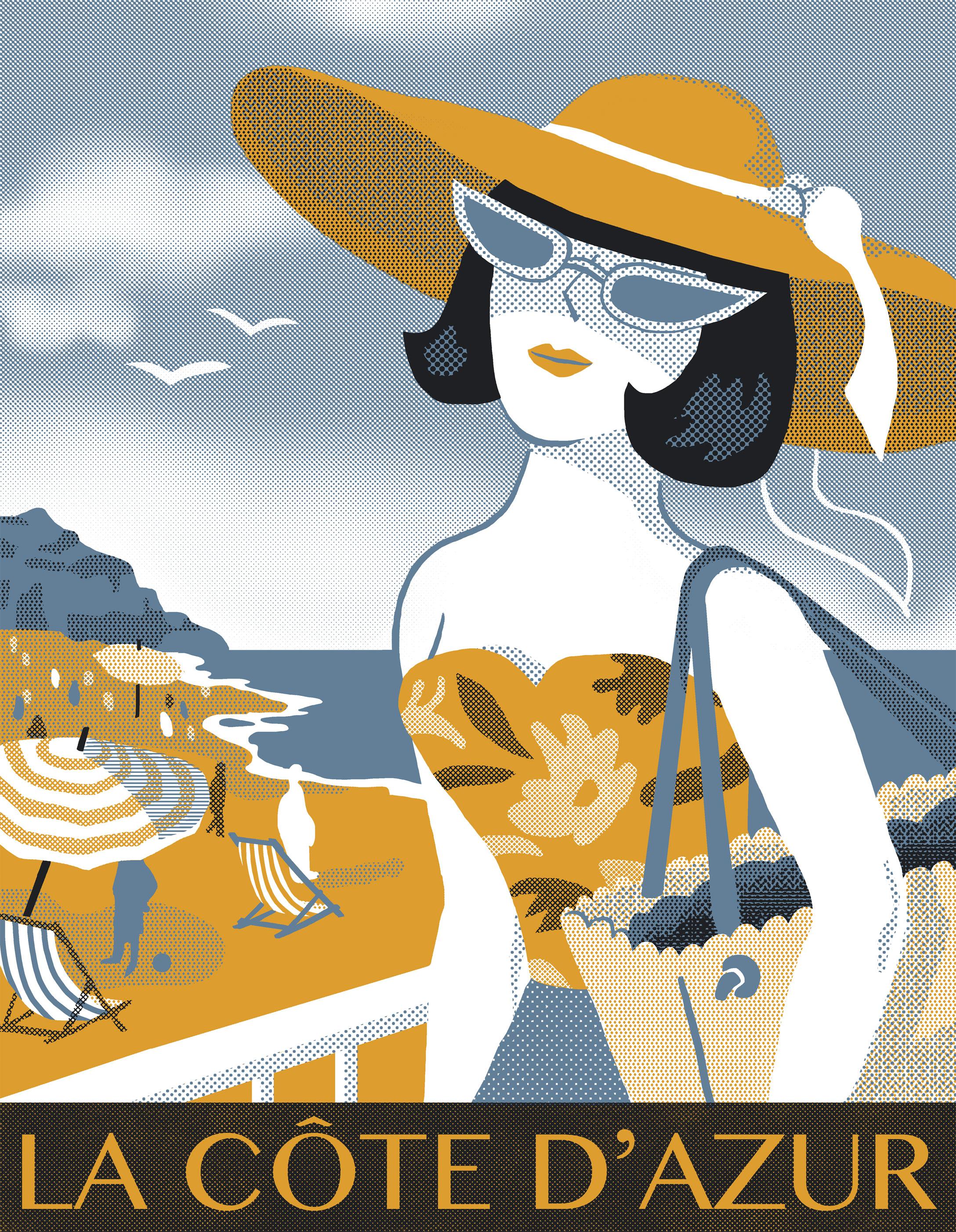 Annalisa Papagna illustration - La Côte d'Azur poster