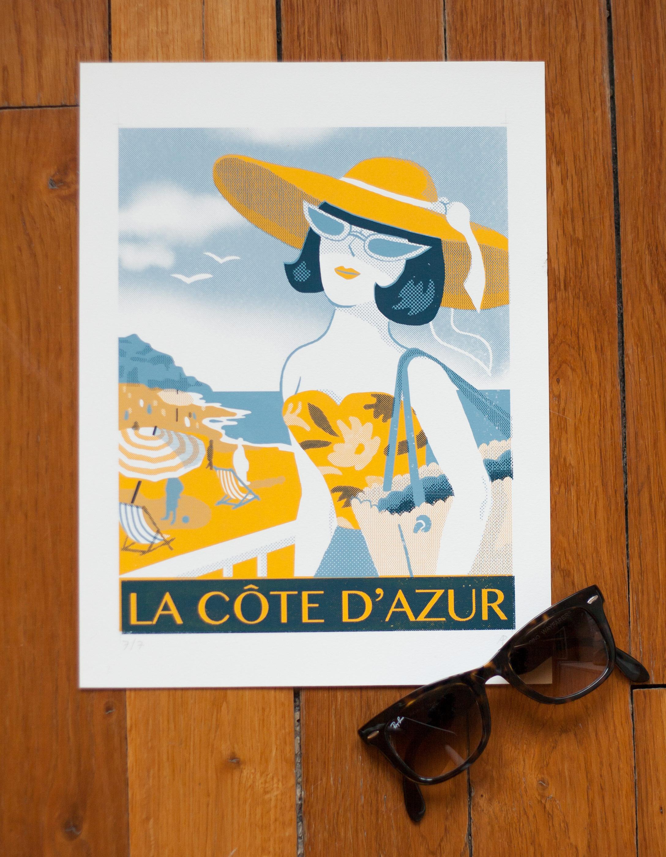Annalisa Papagna illustration - La Côte d'Azur, screen-print in three colors
