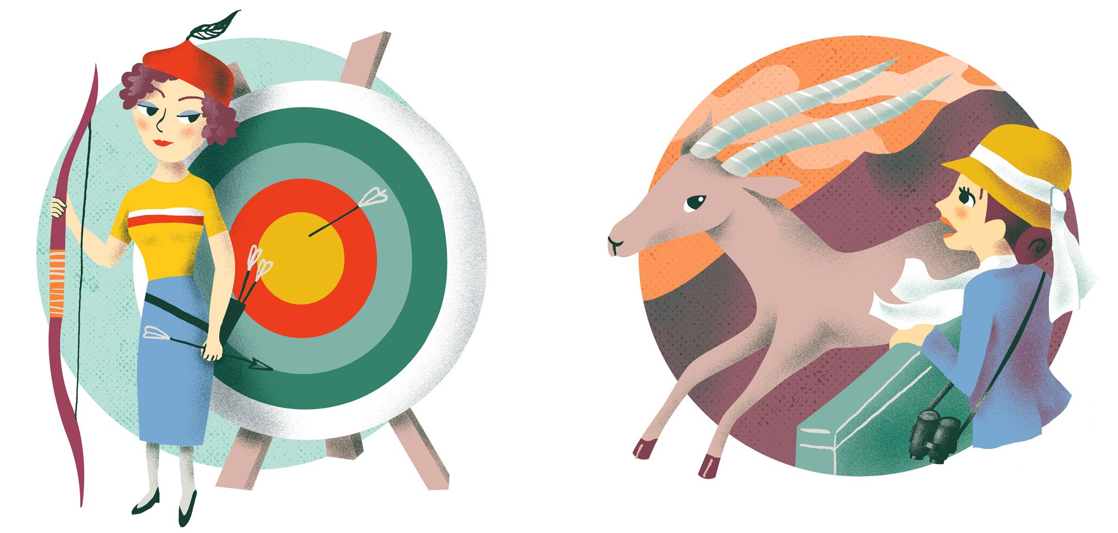 Annalisa Papagna illustration - Horoscope: Sagittarius and Capricorn