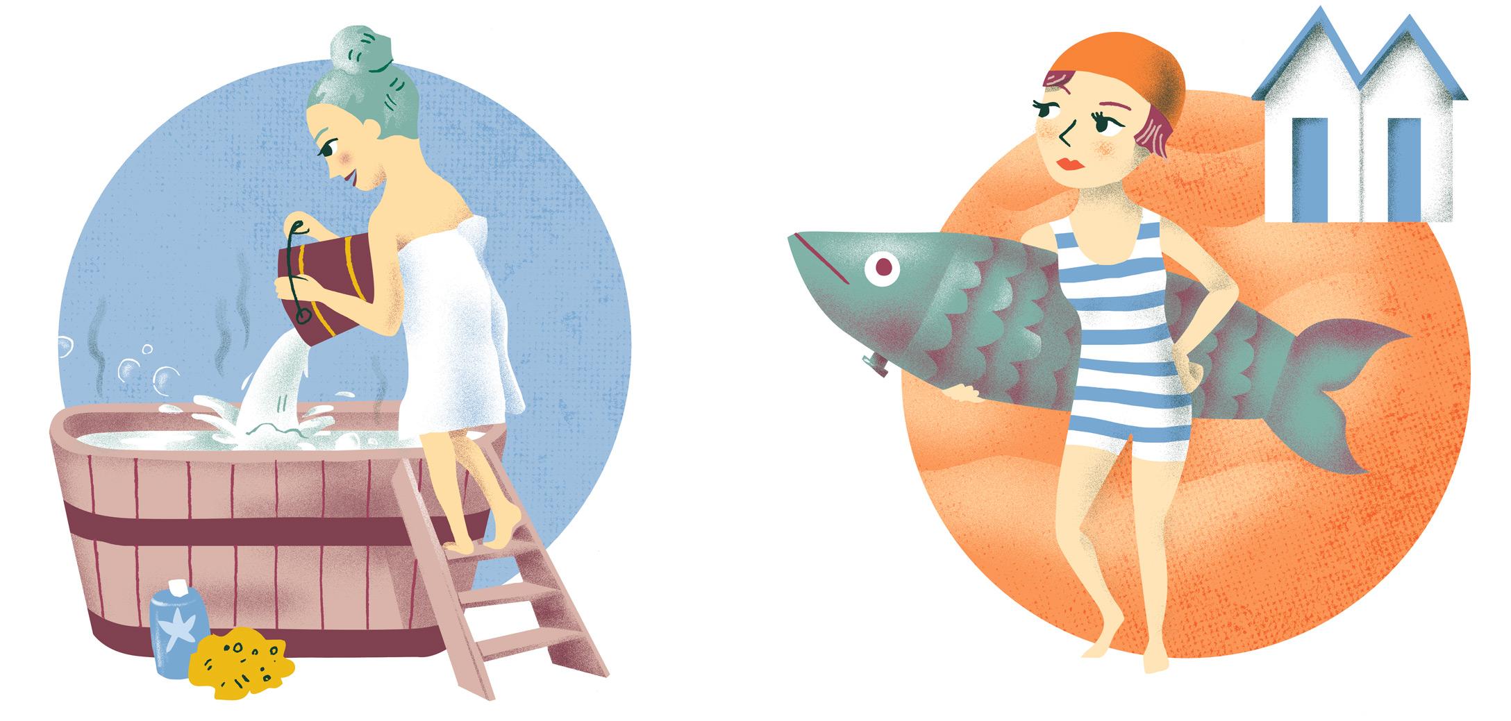 Annalisa Papagna illustration - Horoscope: Aquarius and Pisces