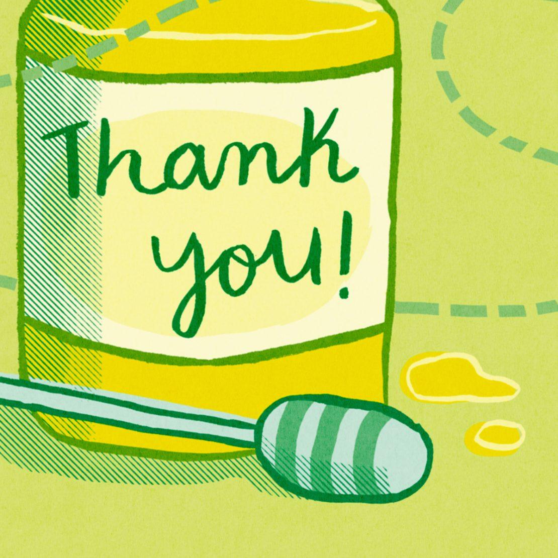 Annalisa Papagna shop - Bee thank you greeting card (detail)